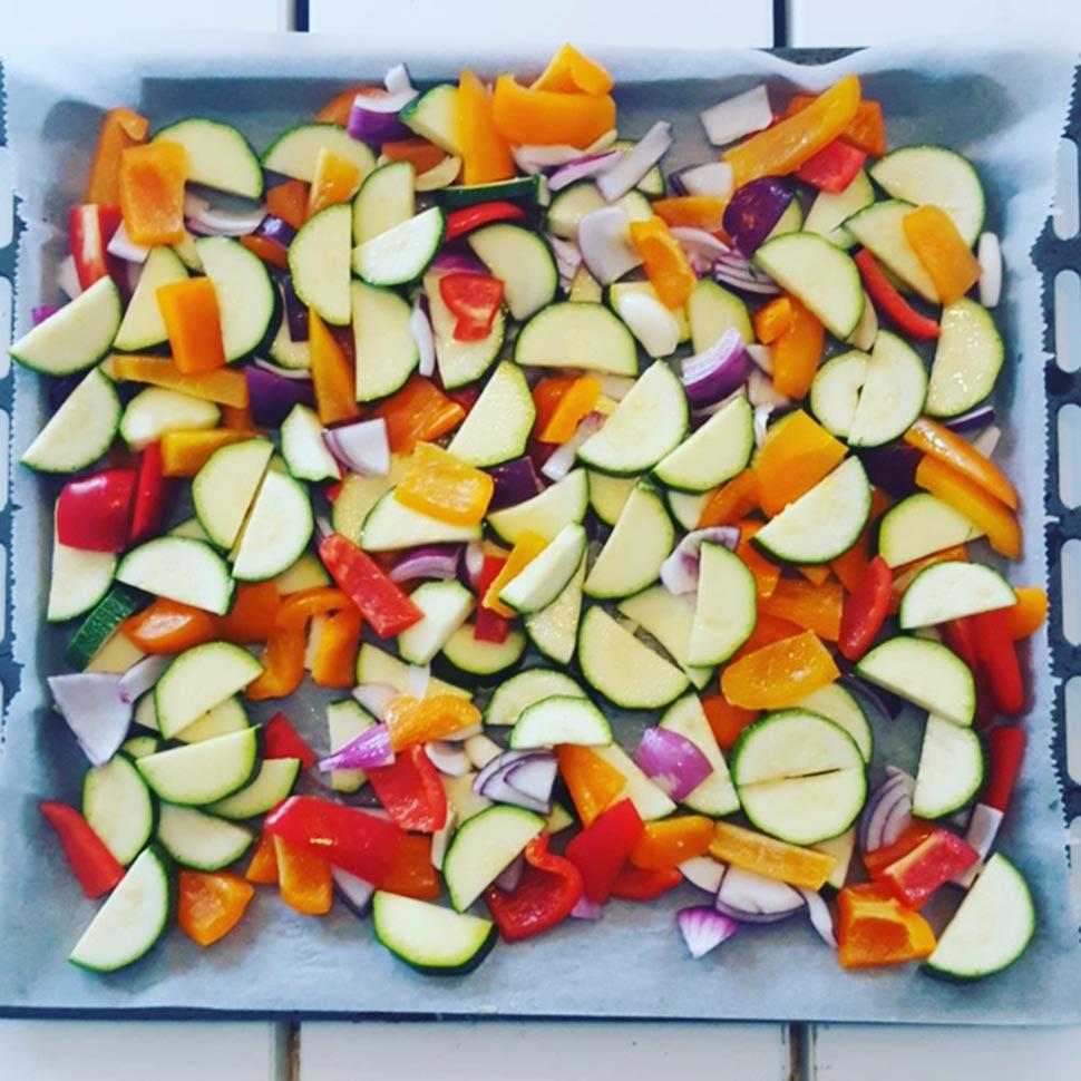 Zalmfilet met gegrilde groenten