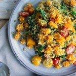 Freekeh salade met geroosterde pompoen
